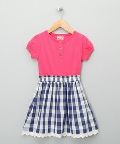 Take a look at this Navy & Bright Pink Checkerboard Organic Dress - Toddler & Girls by Kite Kids on #zulily today!