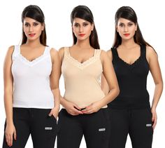 Be You Fashion Women Cotton Hoisery Cream/White/Black Lace Camisole Set (3pcs)