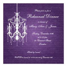 Chandelier Wedding Rehearsal Dinner Wedding Rehearsal Dinner Chandelier Purple Card
