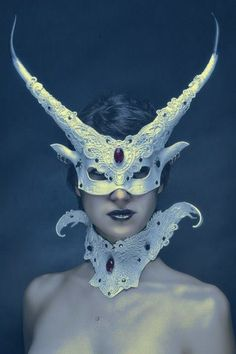 Stunning horned mask and collar