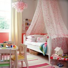 Girl's Pink Bedroom ~ Apply one shade of paint to a single wall, a section or the whole room, this will help in the selection of co-ordinating bed linen and soft furnishings, such as this canopy fabric from Osborne & Little. Add further colour accents with a rug from Aspace and a Laura Ashley chandelier.