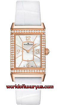 Q3212402 - This Jaeger LeCoultre Grande Reverso Womens Watch, Q3212402 features 40mm 18K Rose Gold case, Mother of pearl dial, Sapphire crystal, Fixed bezel and a White Leather Strap. - See more at: http://www.worldofluxuryus.com/watches/Jaeger-LeCoultre/Reverso-Grande/Q3212402/219_257_8403.php#sthash.oYIjWF0L.dpuf
