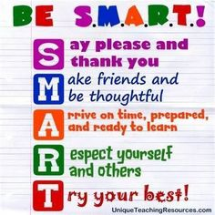 Be smart rules classroom signs, classroom quotes, classroom posters, classr Classroom Quotes, Classroom Bulletin Boards, Classroom Behavior, Classroom Posters, School Classroom, School Teacher, Classroom Signs, Future Classroom, Elementary Classroom Rules