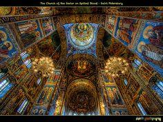 Внутри Спас на Крови (Interior of the Church of the Savior on Spilled Blood),St Petersburg, Russia.  I