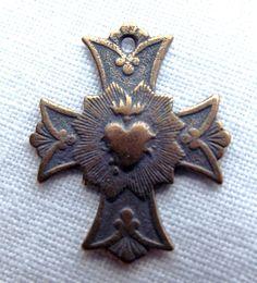 Bronze Sacred Heart Cross Medal. $4.65, via Etsy.