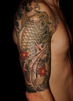 Japanese Dragon Koi Fish Tattoo Designs, Drawings and Outlines. The inspirational best red and blue koi tattoos for on your sleeve, arm or thigh. Tattoo Designs And Meanings, Tattoos With Meaning, Tattoo Designs Men, Koi Tattoo Design, Tatoo Art, Body Art Tattoos, Sleeve Tattoos, Asian Tattoos, Fish Tattoos
