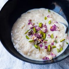 Cardamom rice pudding with pistachio and rose water.