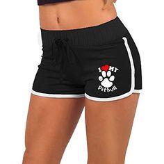 Womens Yoga Shorts I Love My Pitbull Staffy Terrier Dog Tummy Control Bike Yoga Shorts