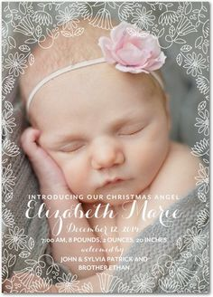 Enchanting Angel: Girl - Winter Girl Birth Announcements in White or Tea Rose | Eleanor
