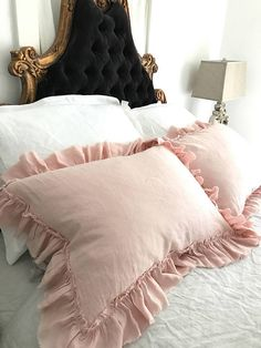 Pink Ruffled Linen Shams Shabby Pillows Cottage Chic Linen Bedding Pillowcase Covers- Made to Order Natural Flax Linen