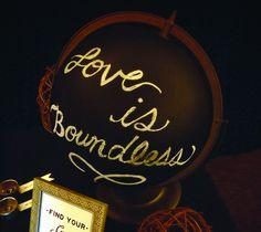Chalkboard Globe Wedding Decor by Anna Lee Company