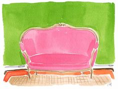"""Very interesting thought.""""Hot pink is a neutral. Tell me one single color that doesn't look good with hot pink"""". - Designer Roman Alonso, when asked what working with Isaac Mizrahi has taught him Pink Settee, Pink Couch, Color Inspiration, Preppy Inspiration, Painting Inspiration, My Favorite Color, Home Interior Design, Pretty In Pink, Pink And Green"""