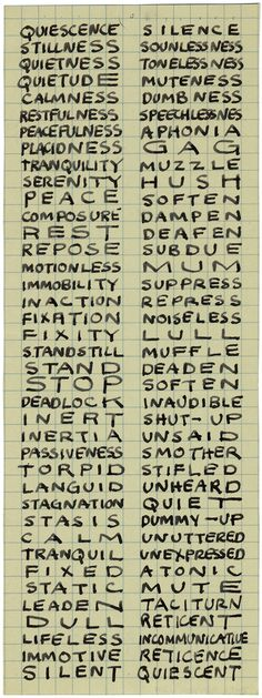 """Mel Bochner, """"Portrait of Ad Reinhardt"""", 1966. Ink on graph paper, 10.25 x 3.75 '', Image courtesy the artist.  from Running into Reinhardt - The Brooklyn Rail"""