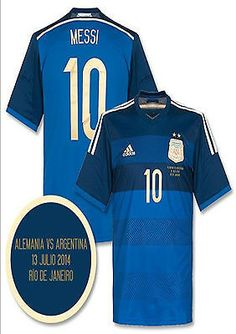 ADIDAS LIONEL MESSI ARGENTINA AWAY JERSEY FIFA WORLD CUP BRAZIL 2014 FINAL MATCH