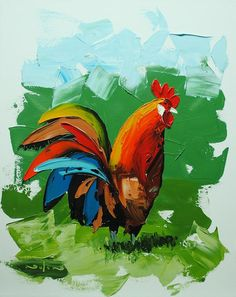 how to paint impasto rooster chicken with water mixable oil paint Oil Painting For Beginners, Acrylic Painting Lessons, Beginner Painting, Oil Painting Abstract, Abstract Art, Acrylic Art, Painting Tips, Oil Paintings, Watercolor Painting