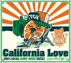 Serie of 4 posters for Tender Greens Restaurant, Irvine, Ca. Hang Ten, Retro Design, Graphic Design, Felix The Cats, Retro Cartoons, Poster Ads, California Love, Design Reference, Cartoon Styles