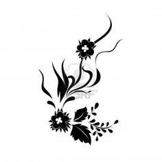 vector floral silhouette on white background. Stock Photo - 8488048