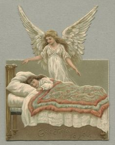 Victorian christmas card. A traditional image of an angel visiting a sleeping child adorns this 1880 Christmas card