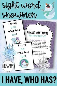 Sight Word Snowmen are the theme for this fast-paced literacy game! Add these to your guided reading small groups all winter for extra sight word practice. From Positively Learning #sightword #snowmen #literacygames