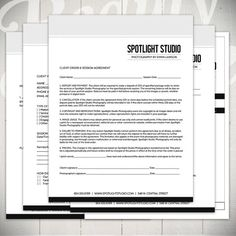 Photography Forms - 5 Essential Contracts and Order Form Templates - Spotlight Studio Collection by Beauty Divine