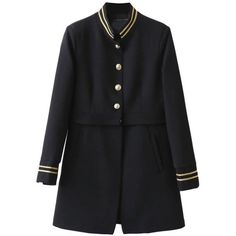 SheIn(sheinside) Striped Trim Single Breasted Long Coat ($51) ❤ liked on Polyvore featuring outerwear, coats, black, single-breasted trench coats, leather-sleeve coats, striped coat, long sleeve coat and longline coat