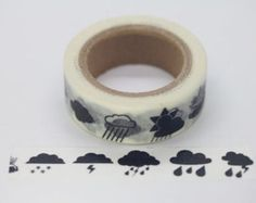 "W8410  11Yards Black Weather Conditions 5/8"" (15mm) Washi Tape Paper Masking Tape"