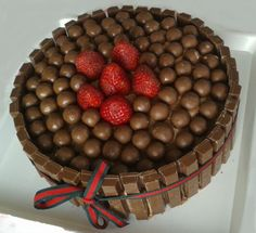 Maltesers & Kitkat Chocolate Cake filled with Strawberries