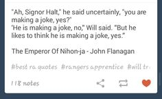 """He is making joke, no. But he likes to think he is making a joke, yes."""