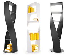 A new twist on storage.    DNA Bookshelves.  Oh yeah!