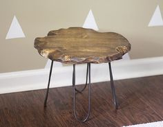 This stylish hairpin stool is actually a $5 DIY.                    Image Source: Upcycled Treasures