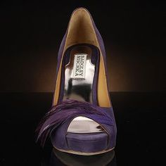 GINNIE-VIOLET purple pump shoes by Badgley Mischka! Love the feather detail! $245 at MyGlassSlipper.com!