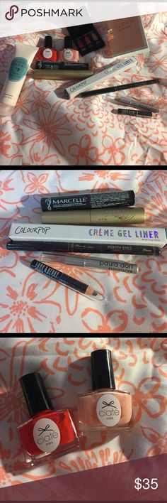 Makeup sampler. All trial size samples are new and unused. 11!! items included. 2 mascaras. 3 eye pencils. 1 crime gel liner (in swerve /colourpop) 2 nail polishes, 1 hand cream, 1 perfume & 1 lip/blush/shadow trio. Stila Makeup Mascara