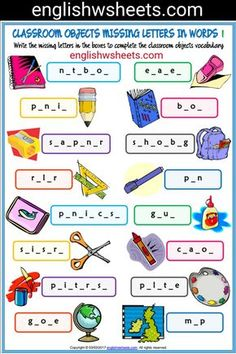 Classroom Objects Esl Printable Missing Letters in Words Worksheets For Kids #classroom #Objects #Esl #Printable #missing #letters #words #Worksheets #language #arts #languagearts
