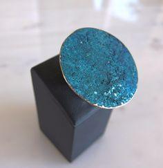 handmade german silver, ring with patina