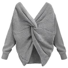 Tie Up Backless Knitted Sweater