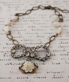 Amelia Necklace Recycled Jewelry, Old Jewelry, Jewelry Crafts, Beaded Jewelry, Vintage Jewelry, Handmade Jewelry, Jewelry Ideas, Grandmother Jewelry, Making Ideas