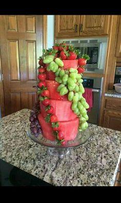 Fruit cake Party ideas Wedding idea Tier cake Grapes watermelon strawberries
