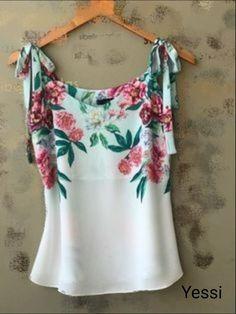 Blusa Blouse Styles, Blouse Designs, Look Fashion, Womens Fashion, Fashion Design, Couture Tops, Dress Patterns, Dame, Ideias Fashion