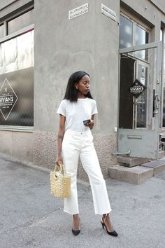 the white on wide cropped white denim.