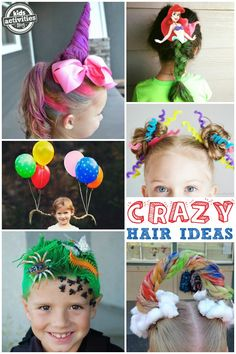 You've got to see these crazy hair day ideas for school! From unicorns to mermaids to bug-infested grass, we've found some of the most creative and crazies Elementary Activities, Family Activities (all ages), Halloween crazy hair, crazy hair for school, crazy hair ideas, hairstyles for kids, school holidays, school spirit, spirit week
