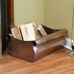 Классический медный Дрова Holder - античная медь в современном камин-аксессуары