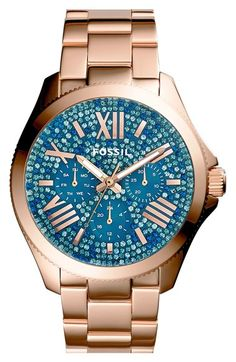 Free shipping and returns on Fossil 'Cecile' Pavé Dial Multifunction Bracelet Watch, 40mm at Nordstrom.com. Pavé crystals shimmer and shine on the multifunction dial of a glamorous bracelet watch finished with a finely notched bezel.
