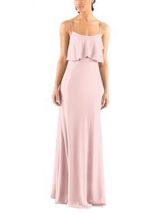 DescriptionJenny YooBlakeFulllength bridesmaid dressCriss crossed, fluttering bodiceThin spaghetti strapsNatural waistlineCrepe de Chine