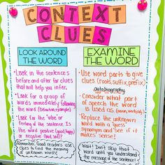 Context Clues anchor charts! Swipe right to see the different types of context clues I teach. On the second chart, there is plenty of blank…