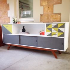 Mid-Century Modern Painted Sideboard. Geometric furniture. French linen, English yellow, pure white Annie Sloan Chalk paint