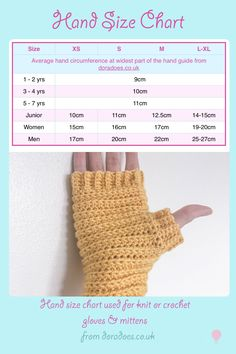 Sizing chart for crochet and knit designers using hand circumference. Perfect for designing gloves, wrist warmers and mittens by manuela Free Form Crochet, Crochet Mittens Pattern, Crochet Gloves, Crochet Chart, Crochet Basics, Crochet Beanie, Crochet For Beginners, Knit Or Crochet, Easy Crochet