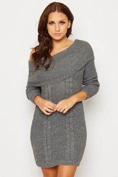 Versie Off Shoulder Cable Knit Jumper Dress Find this gorgeous item at https://www.wearall.com/