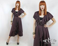 #Vintage #70s Eggplant Purple Deep V Flutter #Disco #Dress, fits S/M by #shopEBV http://etsy.me/1prPM69 via @Etsy #fashion #style