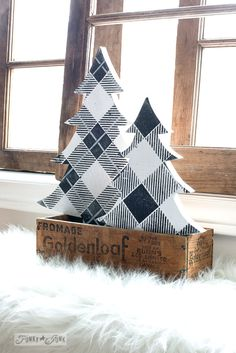 Black and white Buffalo Checked winter trees in a crate tree skirt made by thelittlegreenbean.com made with Funky Junk's Old Sign Stencils \ Part of winter decorating with black, wood and white. Full tour on funkyjunkinteriors.net