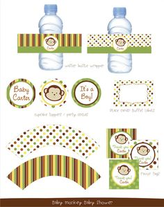 Printable Monkey Baby Shower by kutzypartyboutique on Etsy, $30.00